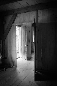Looking out the door of the slave quarters at Stagville.